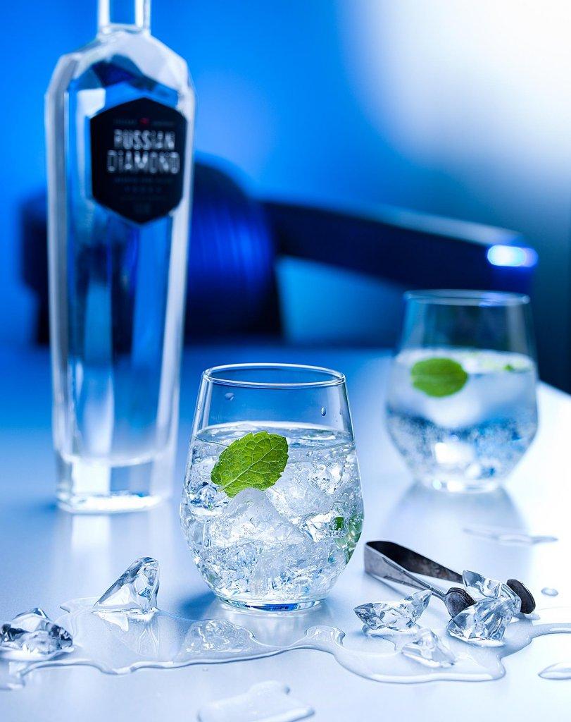 produktova fotografia - miešané nápoje vodka